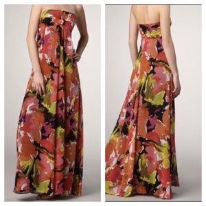 Trina Turk Silk Lynne Bouquet Strapless Maxi Dress